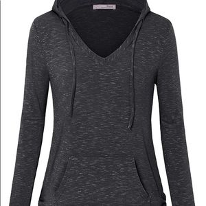 Messic Hooded Tunic Sweatshirt Gray Black.